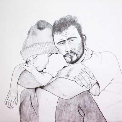 Father and Son: Syrian Refugee Camp Pencil on paper 18 x 24 in (45.7 x 61 cm) 2016