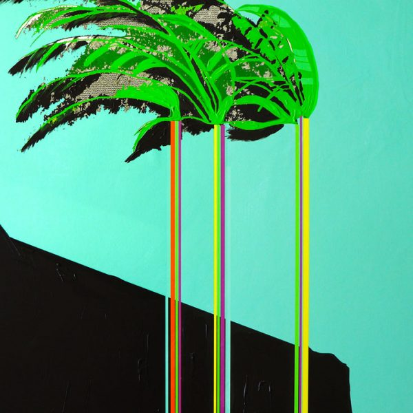 Three Palm Trees Acrylic and mixed media on wood panel 22 x 30 in / 56 x 76 cm 2019
